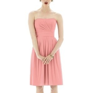 Alfred Sung Strapless Peach Pleated A Line Dress